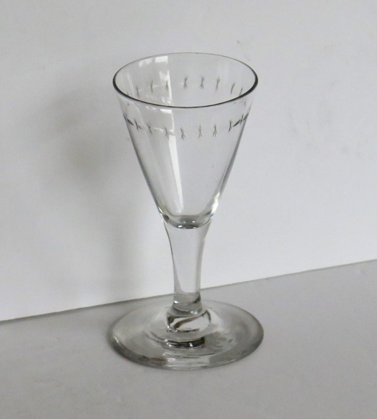 18th Century Georgian Wine Drinking Glass Hand Blown Engraved with Star and Darts, circa 1790 For Sale