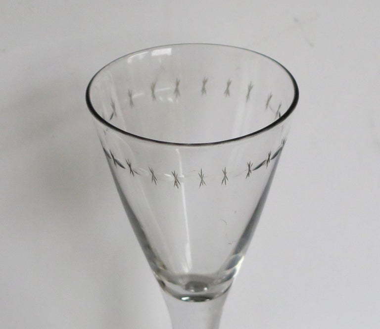 Georgian Wine Drinking Glass Hand Blown Engraved with Star and Darts, circa 1790 For Sale 1