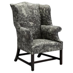 Georgian Wing Chair in 100% Cotton Toile Fabric from Pierre Frey