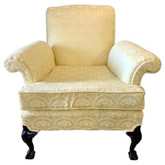 Georgian Wingback Armchair with Newly Upholstered Scalamandre Fabric