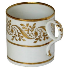 Georgian Worcester BF&B Porcelain Coffee Can in Hand Gilded Pattern, circa 1810