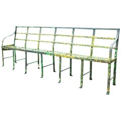 Georgian Wrought Iron Strap Work Garden Bench