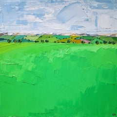 Georgie Dowling, Field Patterns With Pink, Cotswolds, Original Landscape Art