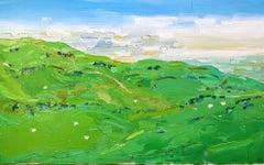 Sheep On Cleeve Hill, Georgie Dowling, Original Landscape Painting, Sheep Art