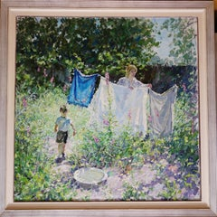 """ Clothes hanging with mum ""  Child, Mother , spring,Garden,Oil cm. 120 x 120"