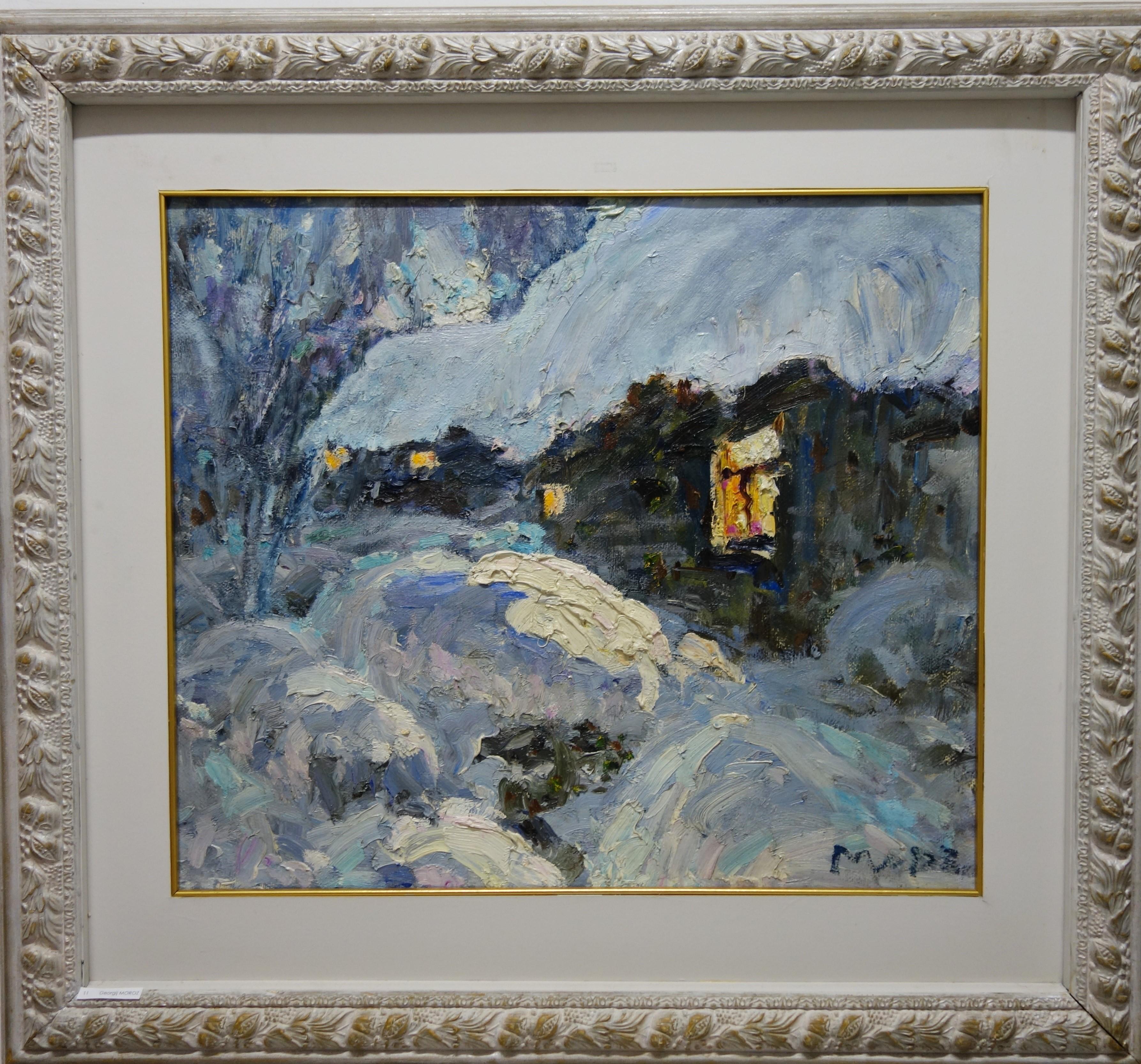 February,Winter ,Snow ,White,Blue,Chill,Russian, oil  cm. 69 x 58  2000