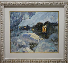 February,Winter ,Snow ,White,Blue,Chill,Russian, oil  cm. 69 x 58  2000
