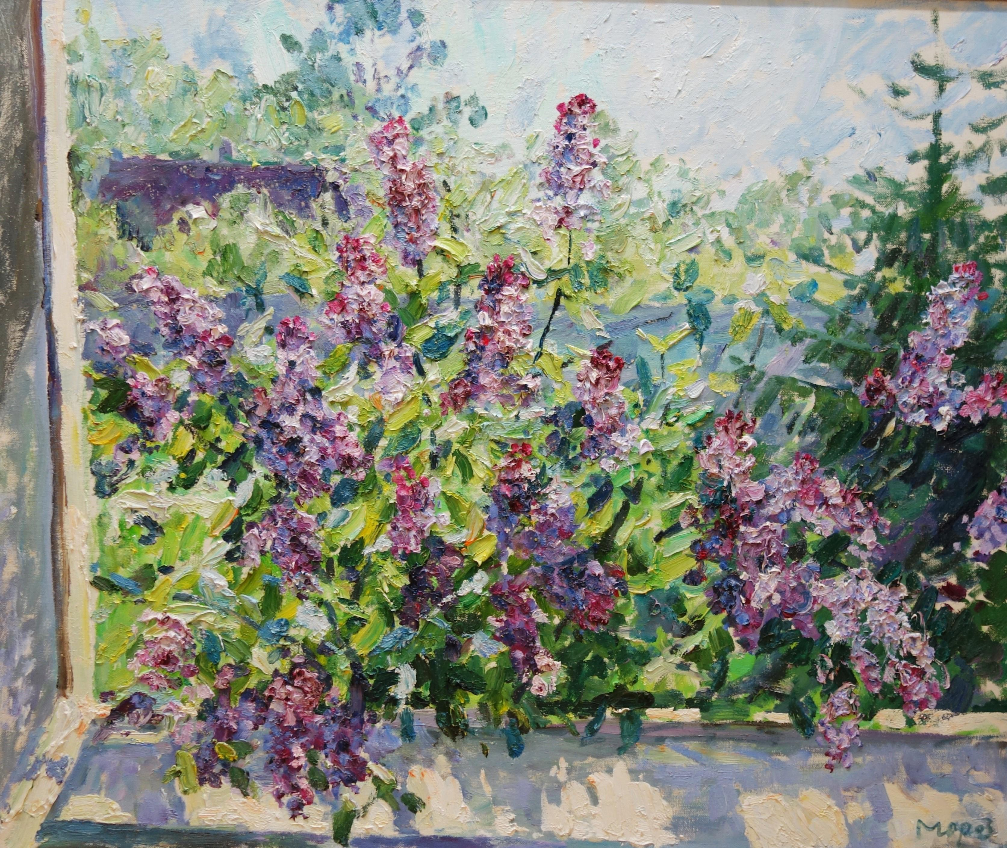 """"""" Lilac"""" purple, Violet, Flowers,Window ,Spring, cm. 120 x 100  Oil free shippin"""