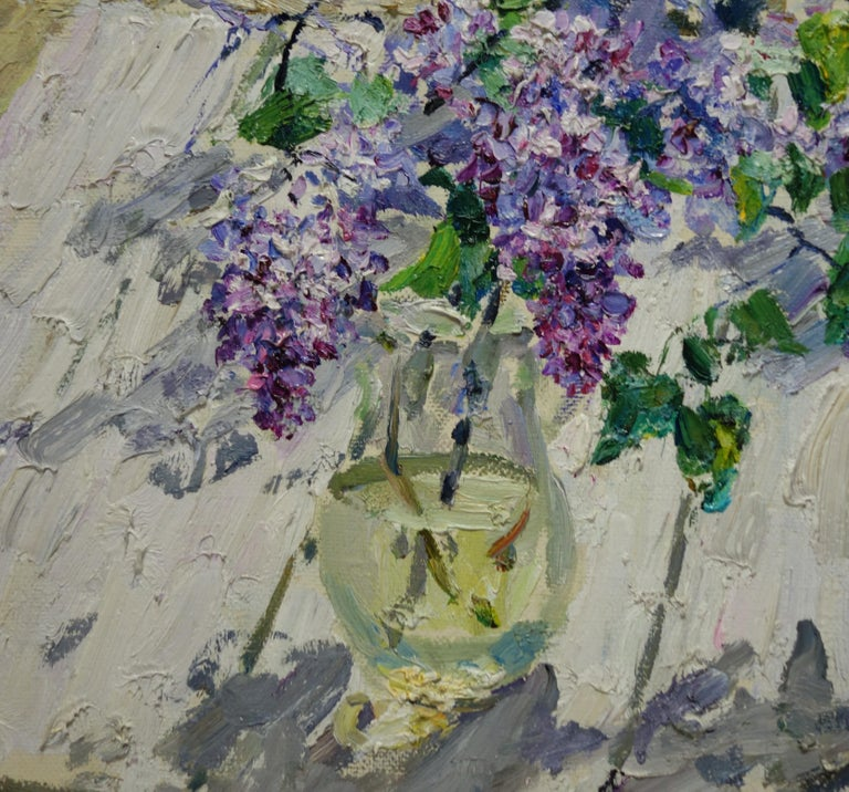 Lilac,Spring,Flowers,Violet,Pink,Russia,impressionist  Published in a monographic catalogue  Georgij MOROZ (Dneprodzerzinsk, Ucraina, 1937 - St. Petersburg, 2015)  1937: he was born in Dneprodzerzinsk, Ucraina. 1949-56: he began artistic studies in