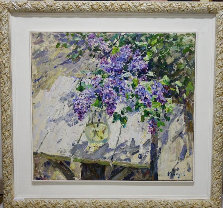 "Georgij Moroz Still-Life Painting - "" lilac"" Spring,Flowers,Violet,Pink ,Impressionistcm. 70 x 64"