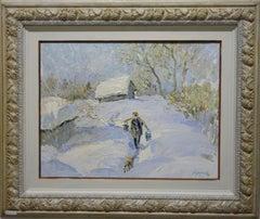 """Winter"" ,Snow ,Little Dog ,White, 20th,oil  cm. 53 x 40"