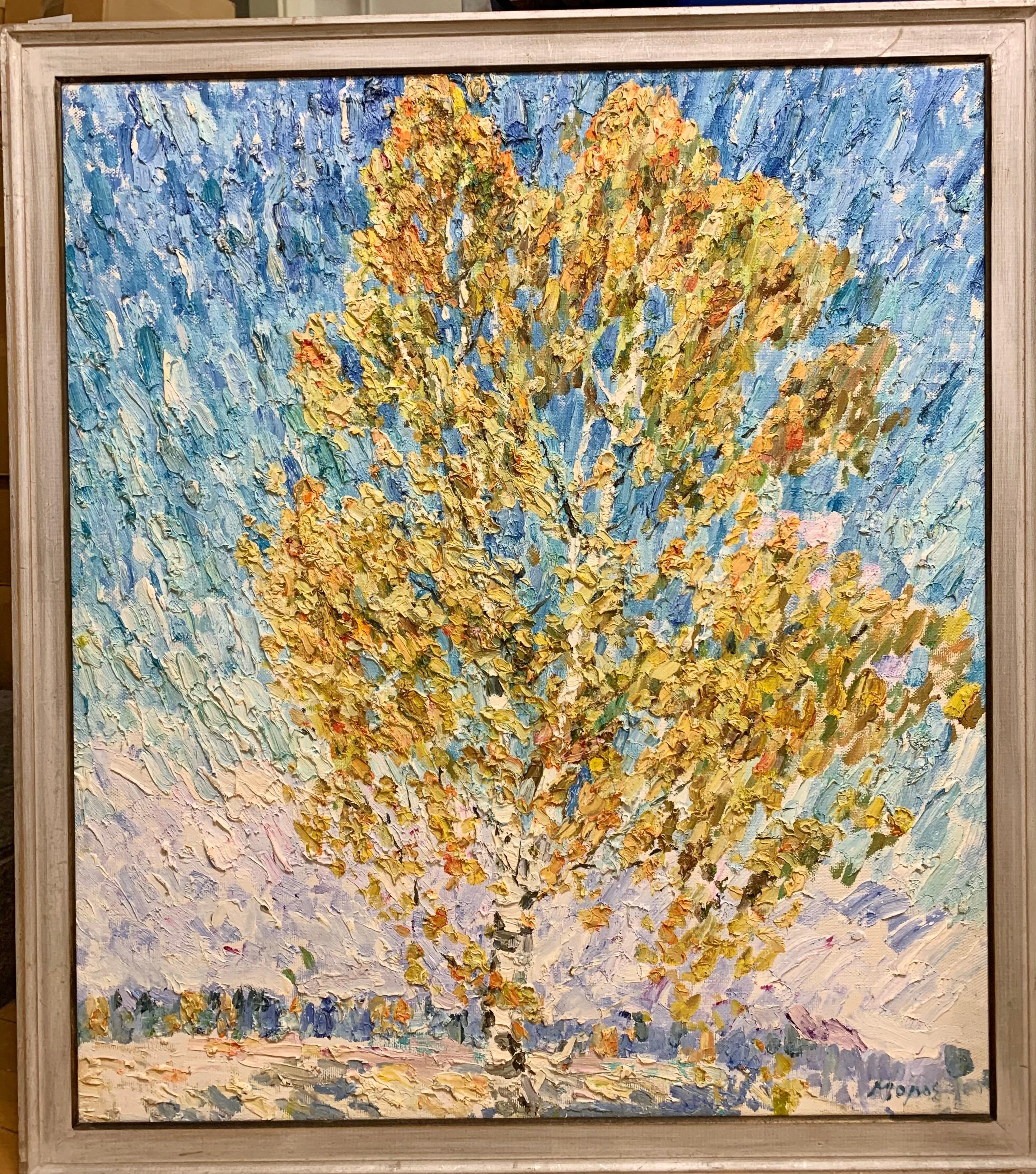 """autumn birches"" Oil cm. 99 x 87 free shipping"