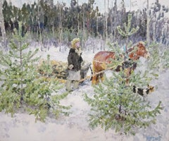 """""Back home"" Snow, Forest, Winter ,White,Impressionism,Christmas 120 x 100 cm"