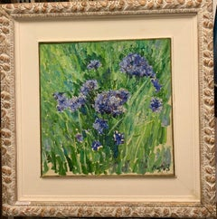 """Blue cornflowers"" Oil cm. 42 x 42 1998 Russian ,Flowers"