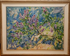"""""""Branch of lilac"""" Spring,Flowers,Violet,Pink cm. 91 x 122"""
