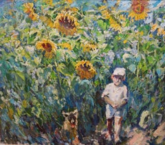 """Child among sunflowers"" cm. 148 x 126 Oil"