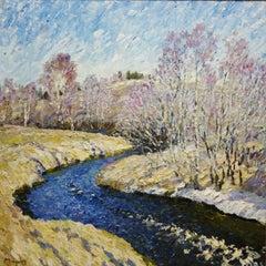 """Dark River,spring colors"" Landscape, oil cm. 103 x 103"