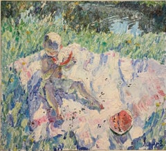 """Egorka and the watermelon, Summer"" Oil cm.105 x 96 1995"