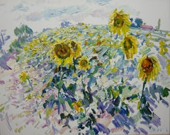 Impressionist Field of Sunflowers Georgij Moroz Summer Yellow Oil Landscape Pain