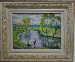 """Fishermen on the river "" Fishing, Fisherman,River,Green, Oil  cm. 50 x 37  1980"