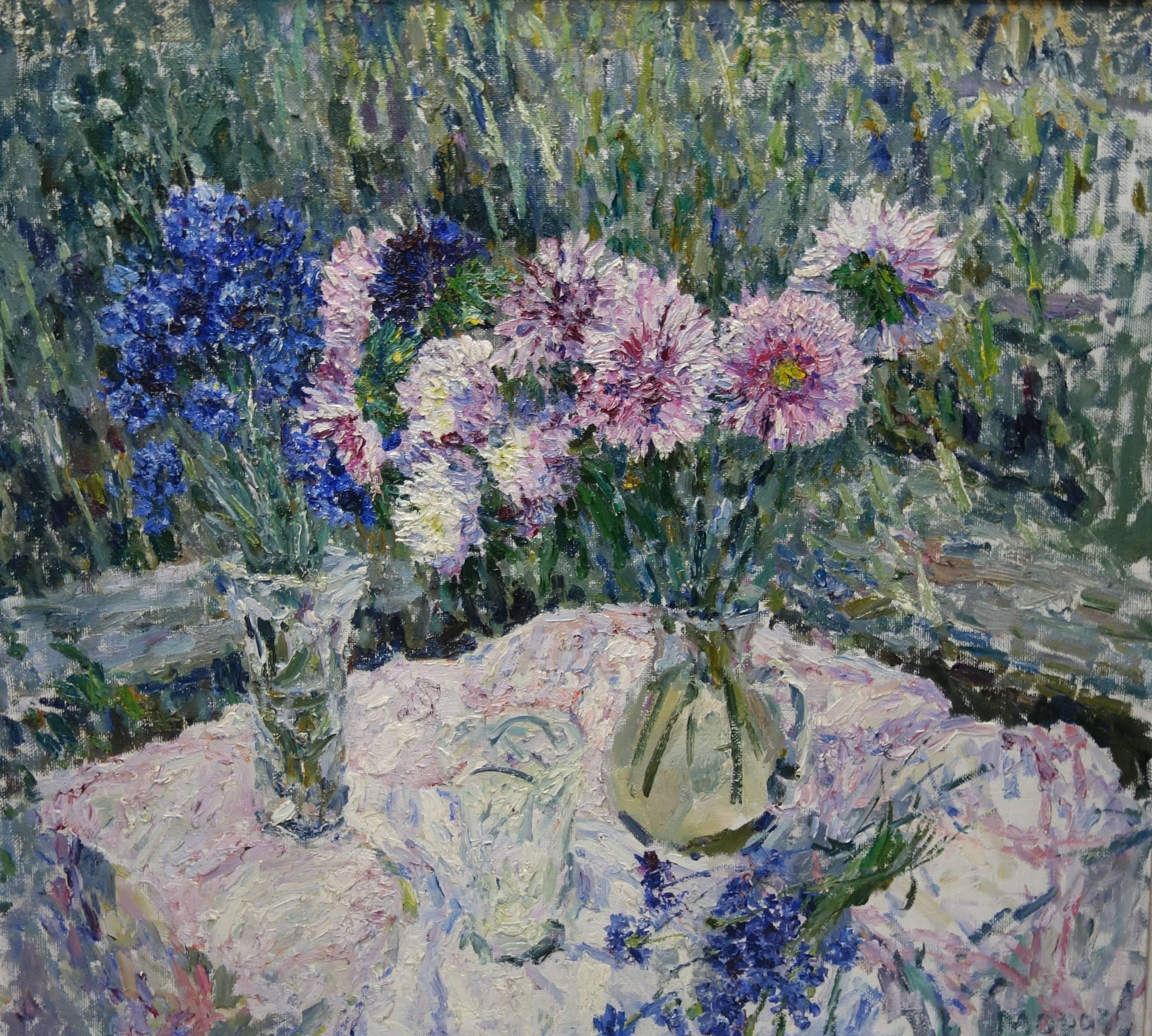 Flowers on the table, Blue,Blue,Pink,20th,cm. 100 x 90