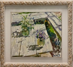 """""""Flowers on the table"""" Oil cm. 52 x 47 Flowers, Viola, Violette, white"""