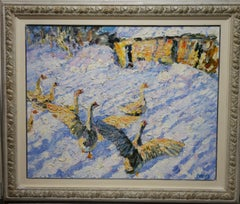 """Geese in the snow ""  Oil cm. 98 x 78"
