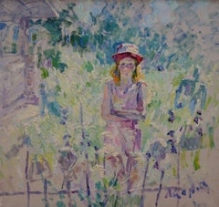"""""""Girl with red cap""""  Oil  cm. 100 x 93"""