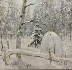 """""""Just snowed"""" white, snow, forest, winter Oil cm.100 x 99  Free Shipping"""