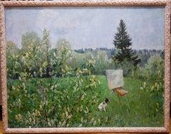 """Landscape with dog ""  oil cm. 140 x 110"