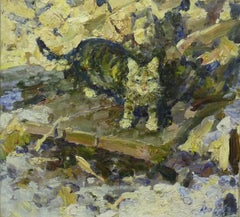 """My cat Mashka"" Cat,Oil  cm. 50 x 45 1998"