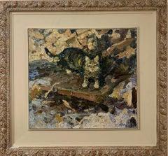 """""""My cat Mashka"""" Cat, Oil  cm. 49 x 45 1998 free shipping"""