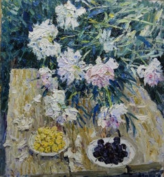 """Peonies and fruit"" Flowers,fruit, Oil cm. 68 x 74 1998"