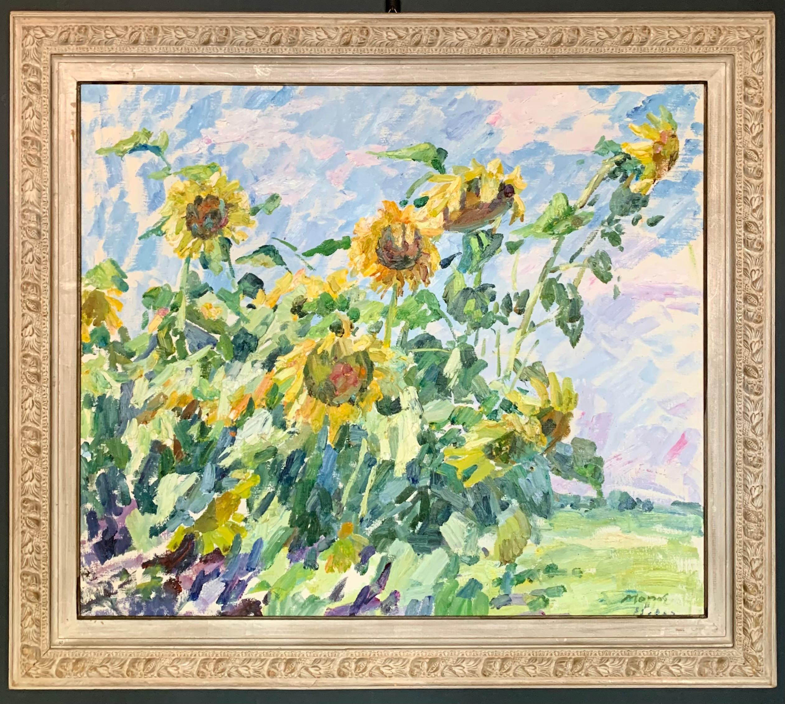 """""""Sunflowers"""" Oil cm. 102 x 85 Flowers,Yellow,Summer,Shipping free"""