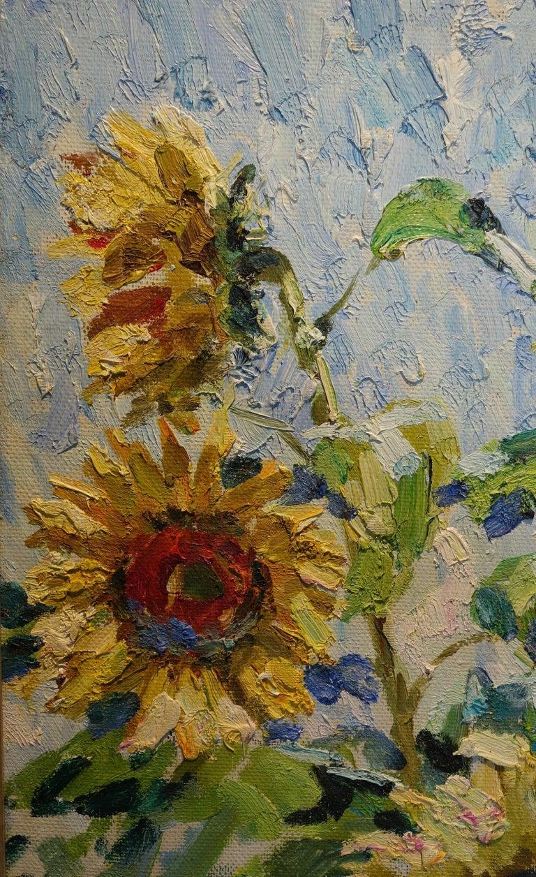 Sunflowers, Yellow Blue, Blooming Field,Russian Painter,russian art  Label on the back Galleria Pirra Torino   Georgij MOROZ (Dneprodzerzinsk, Ucraina, 1937 - St. Petersburg, 2015)  1937: he was born in Dneprodzerzinsk, Ucraina. 1949-56: he began