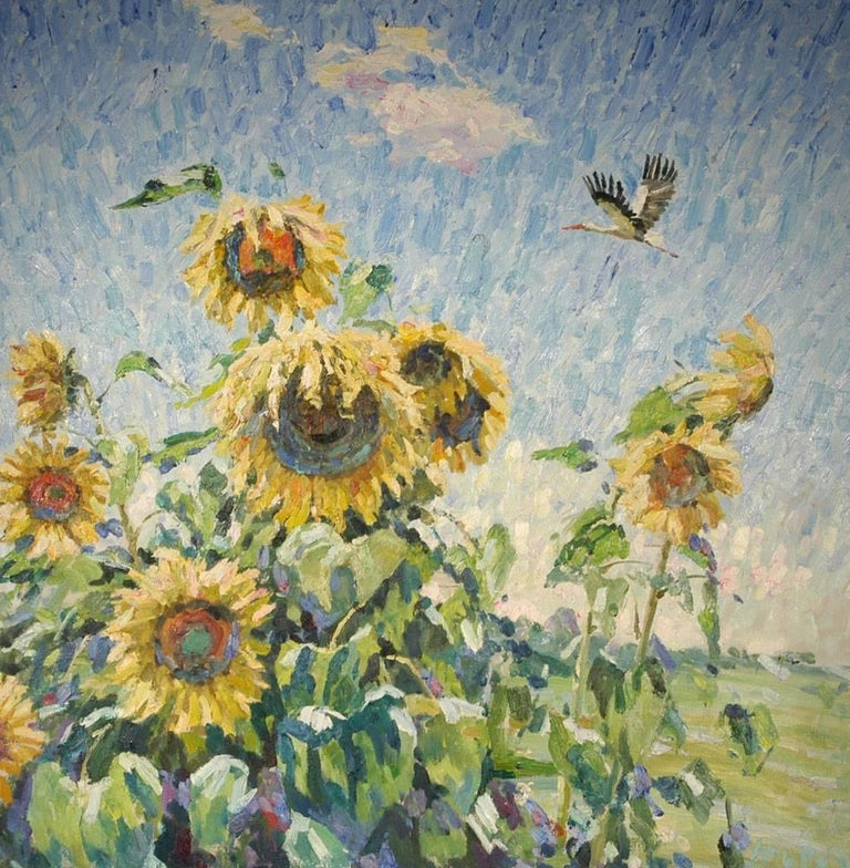 "Georgij Moroz Landscape Painting - ""Sunflowers""  Yellow ,Flowers  ,20th,Summer,impressionism,oil cm. 120 x 120"