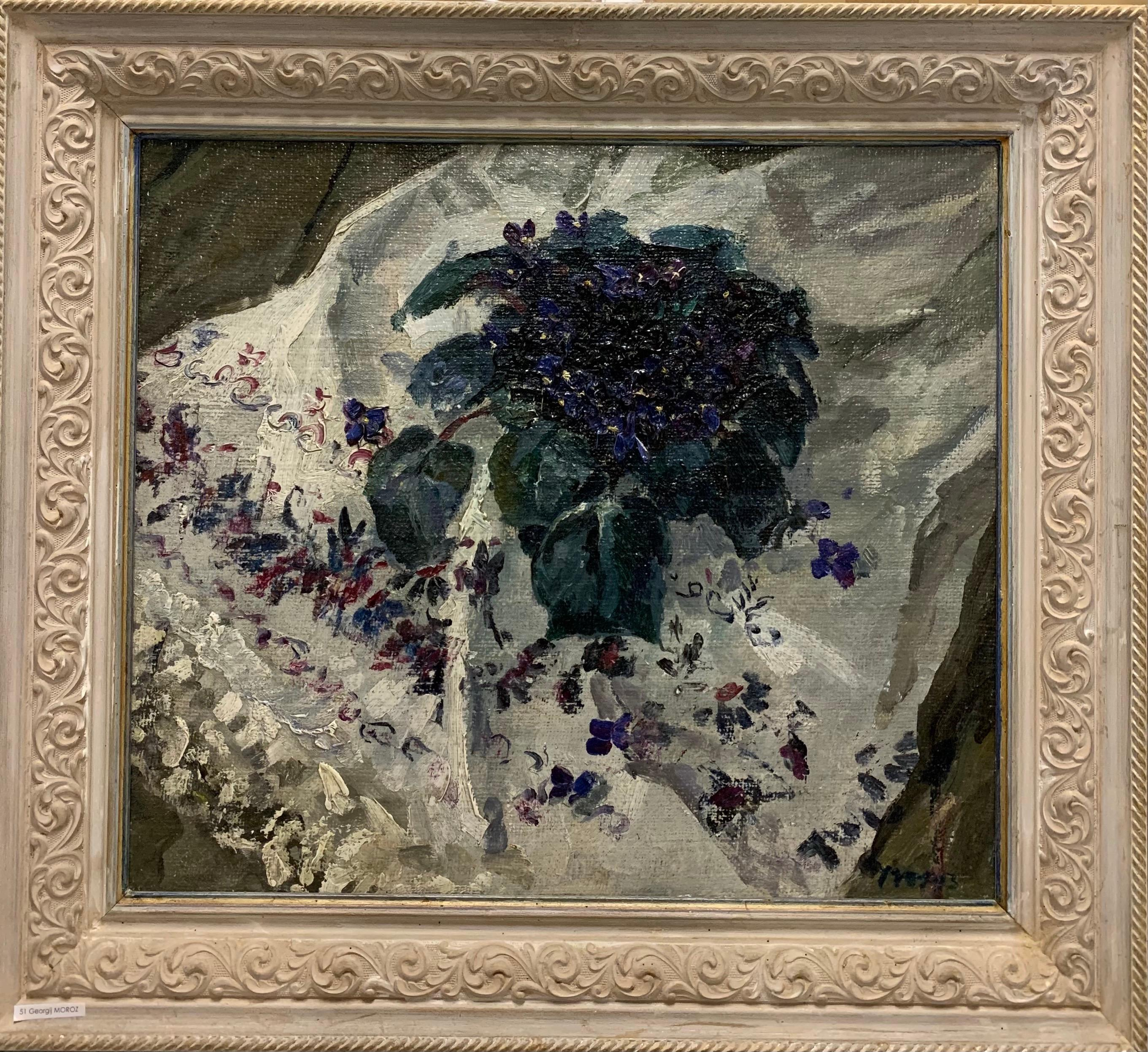 """Violets"" spring, violet, flowers Oil cm. 60 x52   1974 Shipping free"