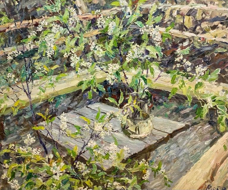 "Georgij Moroz Figurative Painting - ""Wild Cherry Blossom"" Flowers, White Oil cm. 115 x 95"