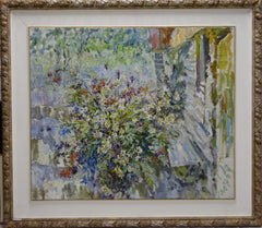 """""""wildflowers"""" Daisies, Poppies, Bunch of flowers, White,cm. 98 x 83"""