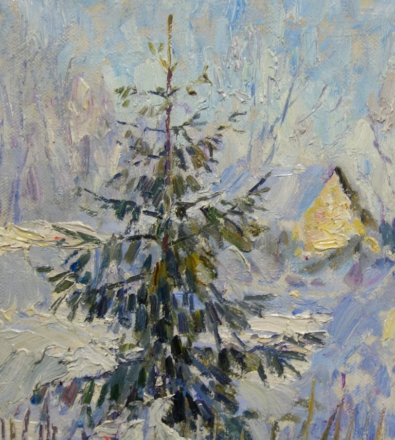 Winter ,First sun ,Snow - oil  cm. 44 x 44 2000 For Sale 1