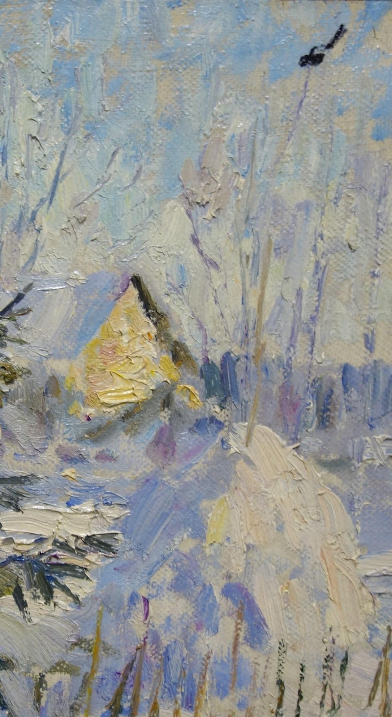 Winter ,First sun ,Snow - oil  cm. 44 x 44 2000 For Sale 2