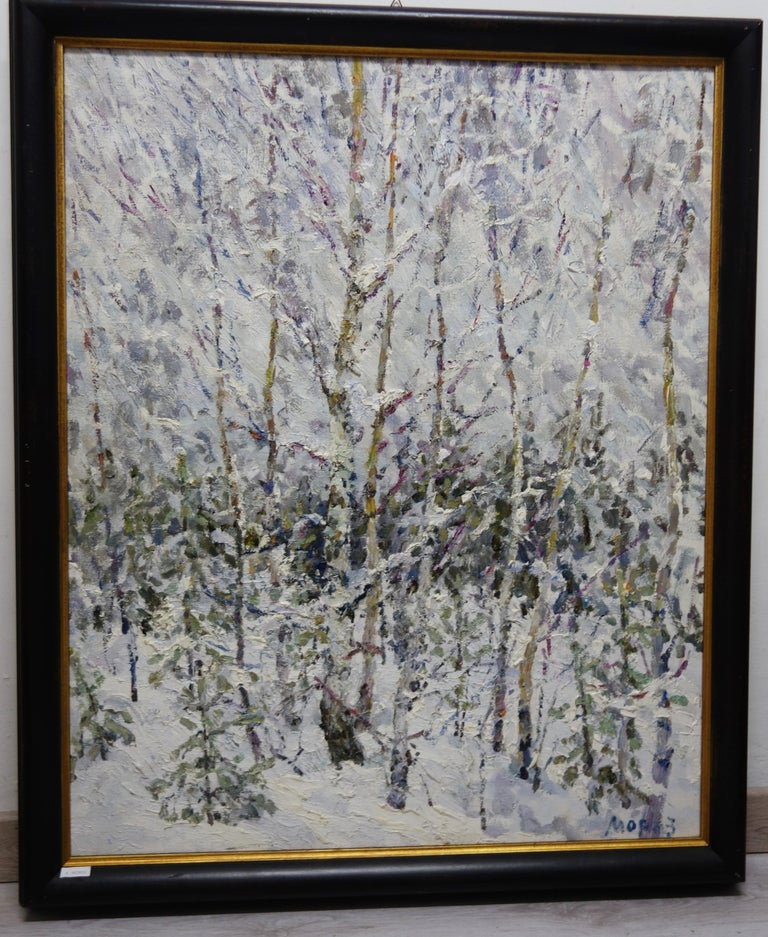 Winter in the forest ,Snow - Oil,  cm. 73 x 90 2004 For Sale 1