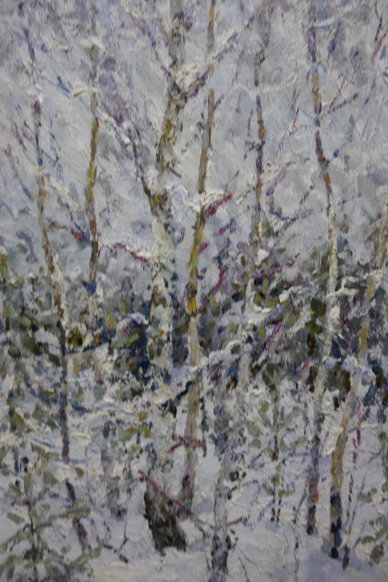 Winter in the forest ,Snow - Oil,  cm. 73 x 90 2004 For Sale 2
