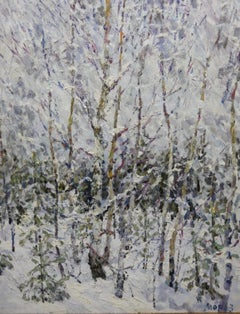 Winter in the forest ,Snow - Oil,  cm. 73 x 90   2004   Free Shipping