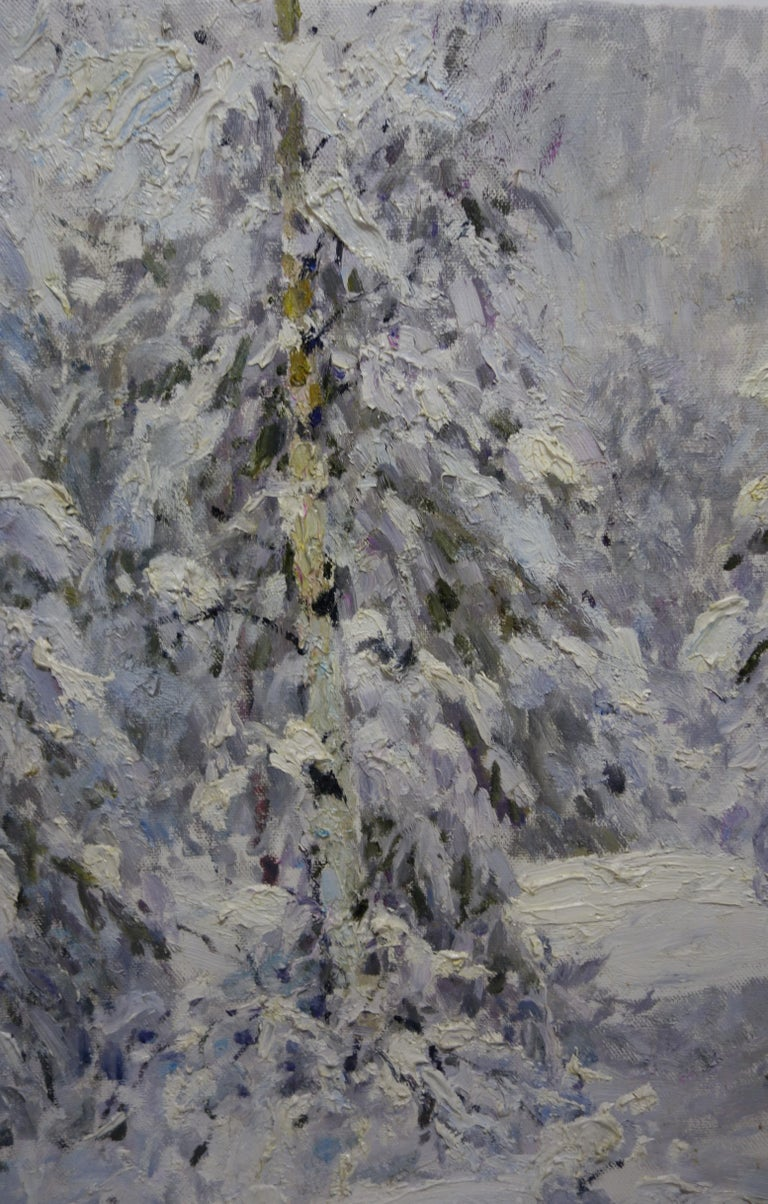 Winter in the forest, White,Snow,Cold, Forest,Impressionism,cm. 92 x 84  - Painting by Georgij Moroz