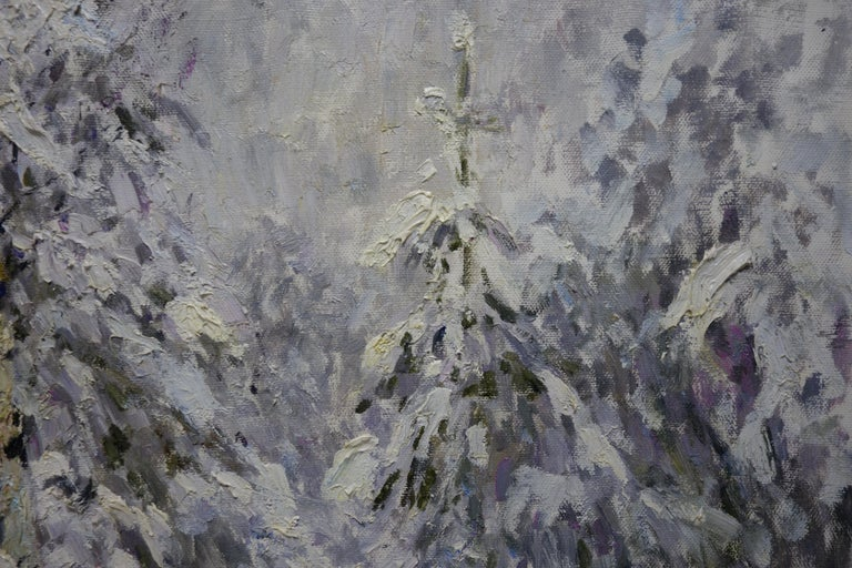 Winter in the forest, White,Snow,Cold, Forest,Impressionism,cm. 92 x 84  - Impressionist Painting by Georgij Moroz