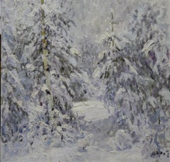 Winter in the forest, White,Snow,Cold, Forest,Impressionism,cm. 92 x 84