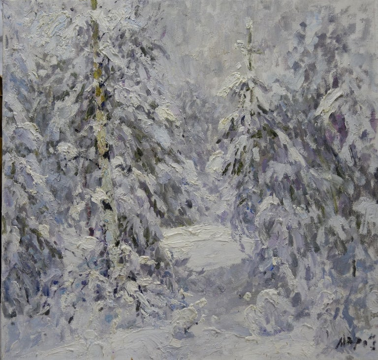 Georgij Moroz Figurative Painting - Winter in the forest, White,Snow,Cold, Forest,Impressionism,cm. 92 x 84