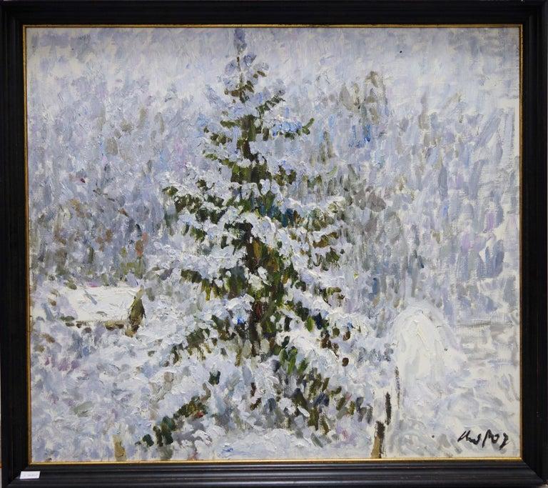 "Georgij Moroz Landscape Painting - ""Winter"" Snow, Snowfall, mountain, winter Oil cm. 85 x 75 free shipping"