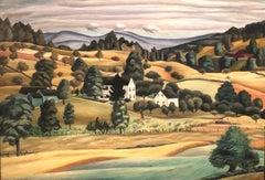 AUGUST LANDSCAPE Woodstock Modernist WPA American Scene Historical Oil Painting